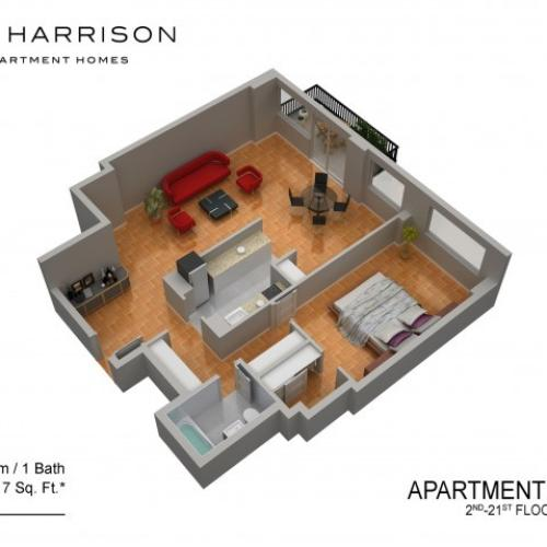 3D Floor Plan 42 | Somerset Apartment | The Harrison