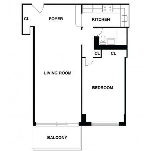 2D Floor Plan 45 | Somerset NJ Apartments | The Harrison