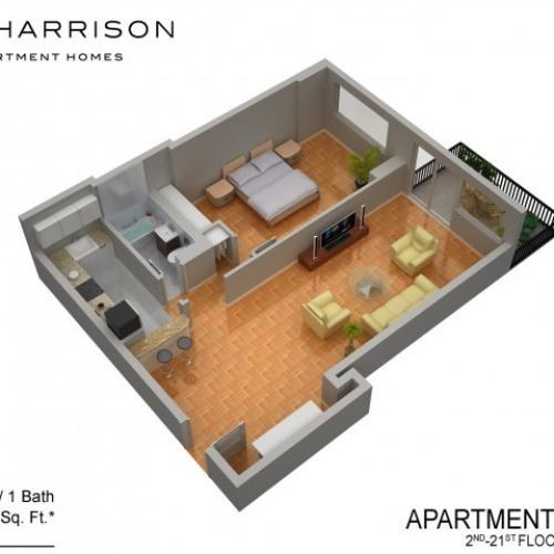 3D Floor Plan 45 | Somerset NJ Apartments | The Harrison