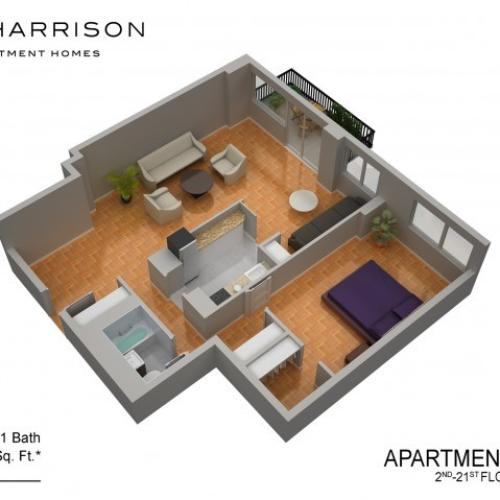 3D Floor Plan 49 | Luxury Apartments In Somerset NJ | The Harrison