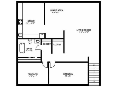 Floor Plan 40 | Apartments Pitman NJ | Holly Court