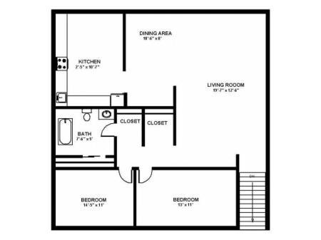 Floor Plan 44 | Pitman Apartments | Holly Court