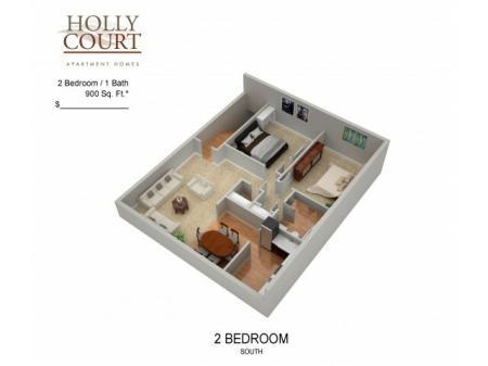 Floor Plan 41 | Pitman NJ Apartments | Holly Court