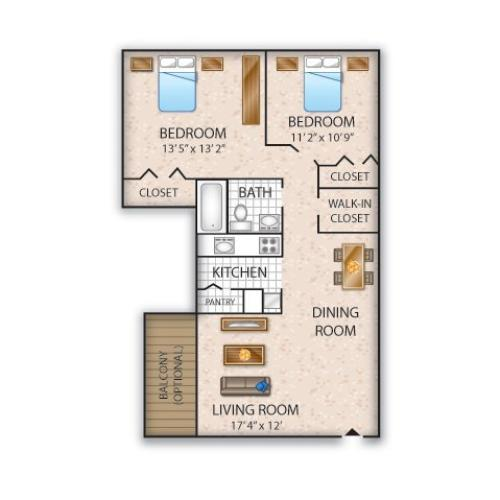 Floor Plan 6 | Allentown Apartments | Lehigh Square