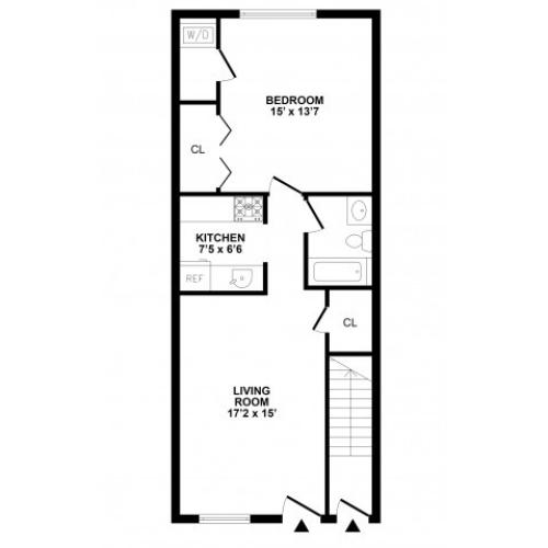 1 Bedroom Floor Plan | Townhomes For Rent In Bethlehem PA | River Pointe