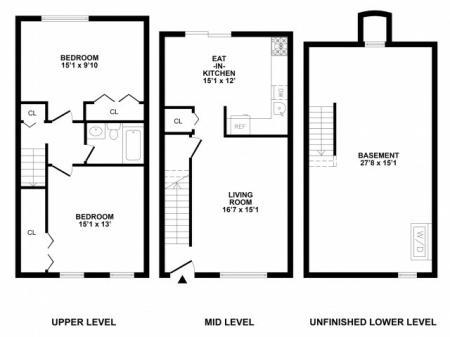 2 Bedroom Floor Plan | Bethlehem PA APArtments | River Pointe