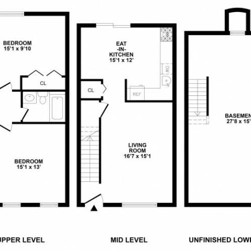 2 Bedroom Floor Plan   Bethlehem PA APArtments   River Pointe