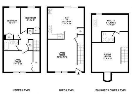 4 Bedroom Floor Plan | Luxury APArtments In Bethlehem PA | River Pointe