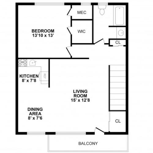 Floor Plan 1 | Burlington Apartments | Burlington Pointe