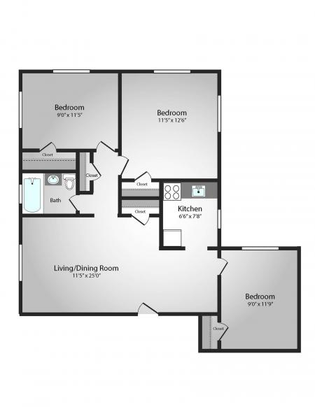 Floor Plan 32 | Apartments In Pittsburgh PA | The Alden
