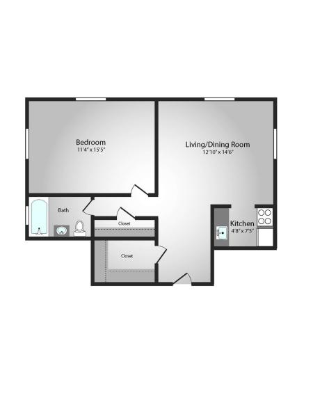 Floor Plan 3 | Apartments Near Downtown Pittsburgh | The Alden