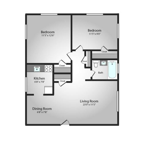 Floor Plan 14 | Apartments For Rent In Pittsburgh | The Alden