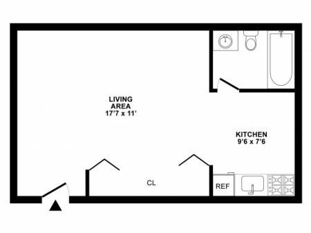 Studio Floor Plan | Apartments For Rent in White Oak MD | The Lockwood