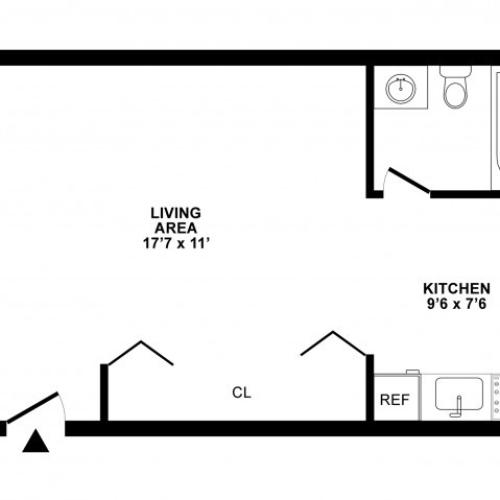 Studio Floor Plan | Apartments For Rent in White Oak MD | The Lockwood