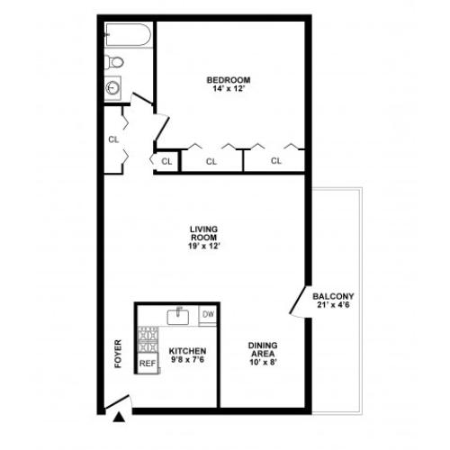 1 Bedroom Floor Plan | White Oak MD Apartments | The Lockwood