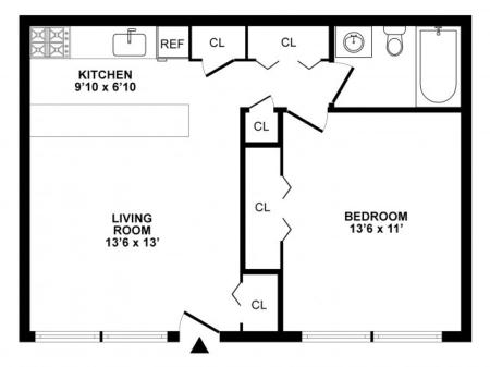 1 Bedroom Floor Plan | White Oak MD Apartments | The Lockwood