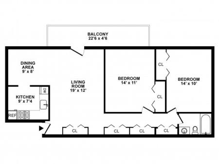 2 Bedroom Floor Plan | Apartments For Rent in White Oak MD | The Lockwood