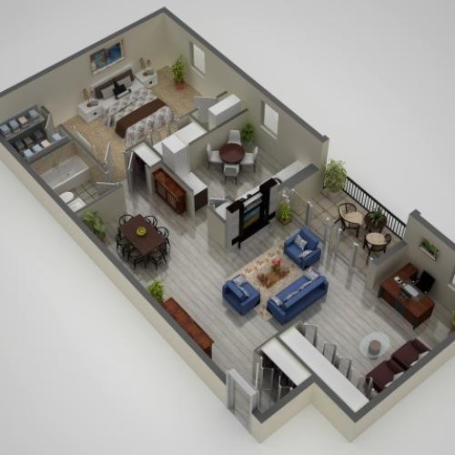 1 Bdrm Floor Plan | Apartments In Baltimore | Metro Pointe