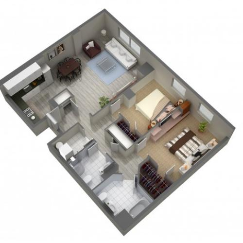 2 Bedroom Floor Plan | Cherry Hill Apartments | Cherry Hill Towers