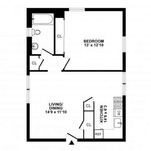1 Bedroom Floor Plan | Hatboro Apartments | Livingstone