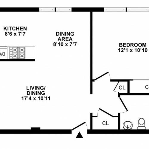 1 Bedroom Floor Plan | Apartments In Hatboro | The Wellington