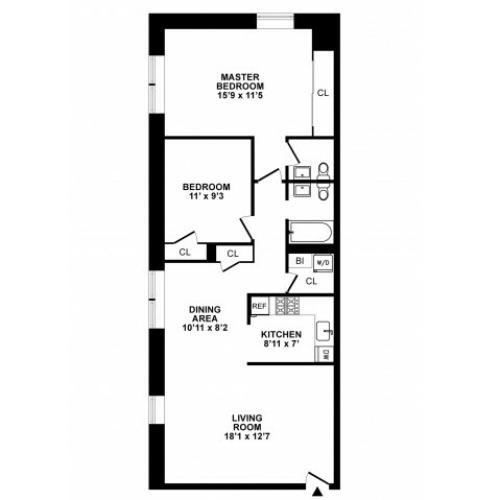 2 Bedroom Floor Plan | Apartments In Hatboro | The Wellington