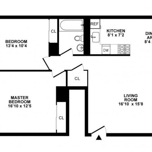 2 Bedroom Floor Plan | Apartments In Hatboro | The Wellington