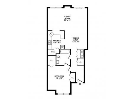1 Bedroom Floor Plan | Elkton MD Apartments | The Apartments at Iron Ridge
