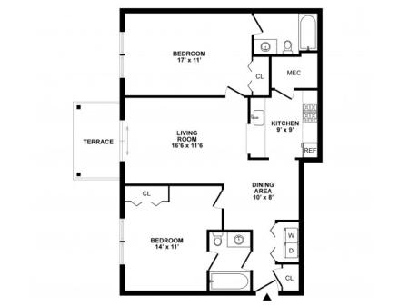 2 Bedroom Floor Plan | Apartments In Elkton MD | The Apartments at Iron Ridge