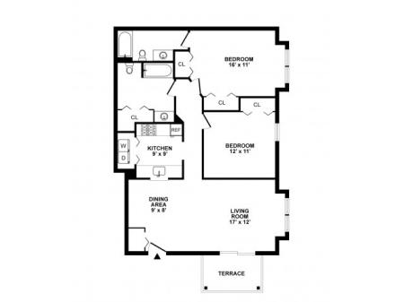 2 Bdrm Floor Plan | Elkton Maryland Apartments | The Apartments at Iron Ridge
