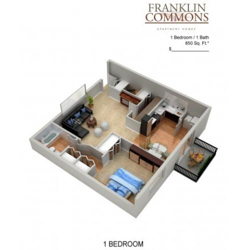 Floor Plan 3 | Apartments Bensalem Pa | Franklin Commons