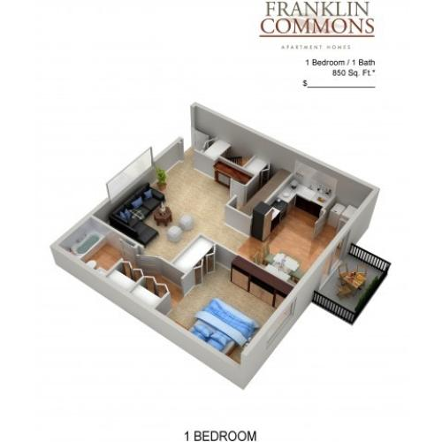 Floor Plan 4 | Apartments Bensalem Pa | Franklin Commons