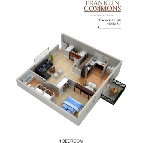 Floor Plan 12 | Bensalem Apartments | Franklin Commons