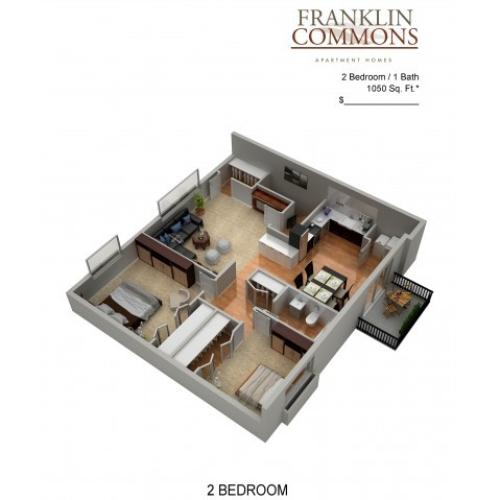Floor Plan 1 | Bensalem Pa Apartments | Franklin Commons
