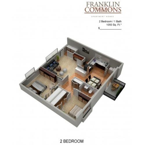 Floor Plan 2 | Bensalem Apartments | Franklin Commons