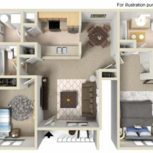 2 Bedroom Floor Plan | Manayunk Apartments | The Glen at Shamont Station