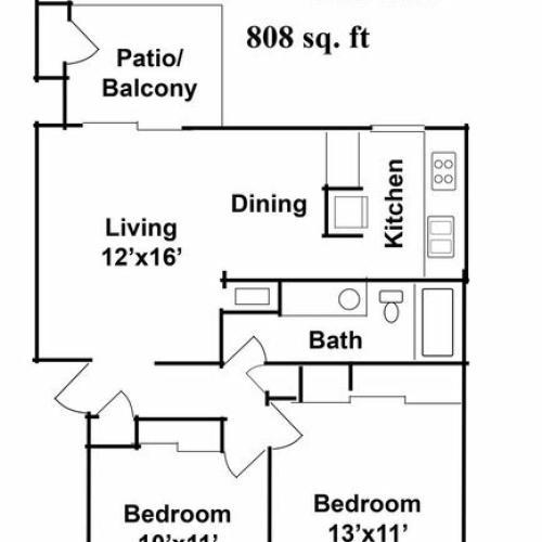 2 Bedroom 1 Baths