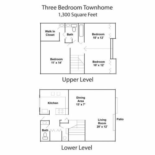 3 Bedroom 2 Bath Townhome