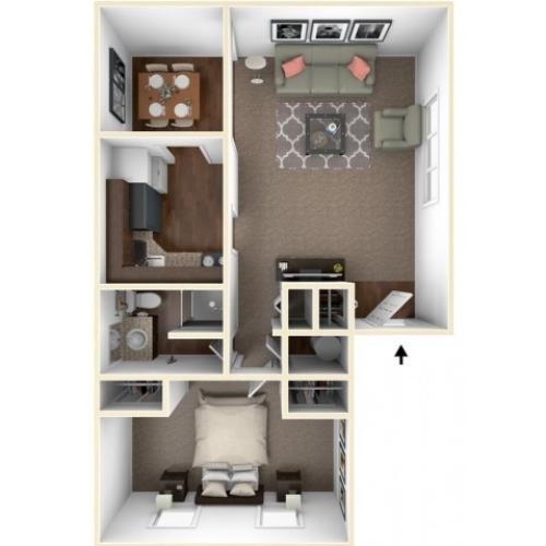 1 Bdrm Floor Plan | One Bedroom Apartments Indianapolis | Fountain Lake Villas