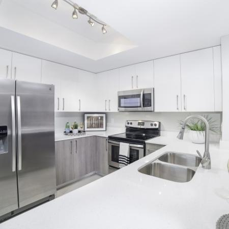 Modern white kitchen with stainless appliances.