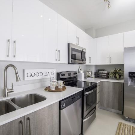 Kitchen with stainless appliances, and modern white cabinets