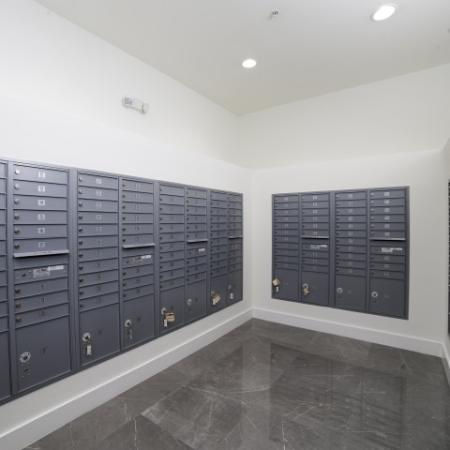 Mail room, with grey mail boxes.