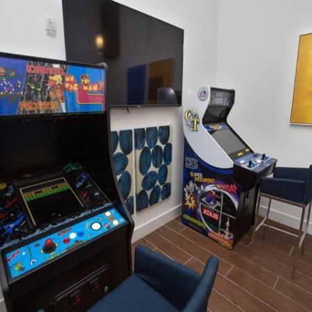 Arcade games and wall mounted TV.