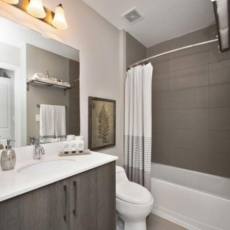 Bathroom with white and grey vanity.