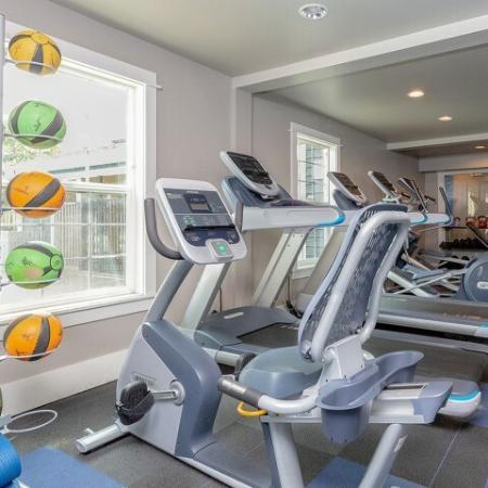 Fitness center, cardio bike.