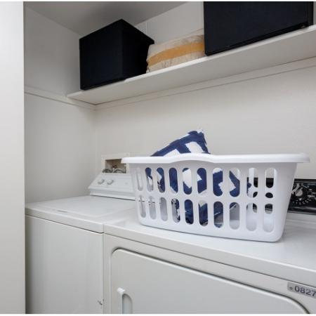 Washer and dryer with laundry basket on top.