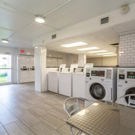 Coin laundry machines.