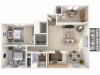 2 bedroom, 1 bathroom apartment home with den