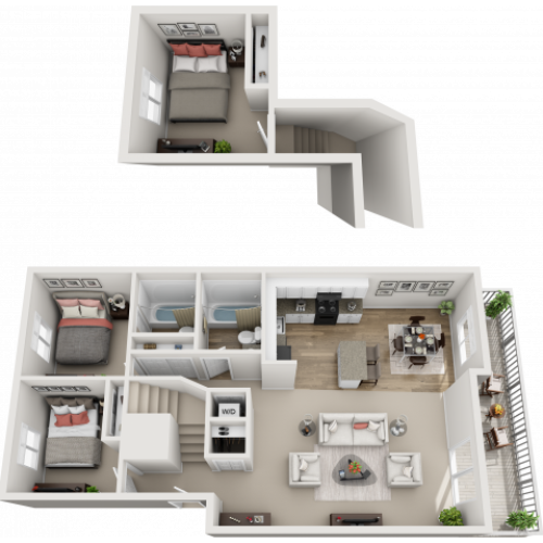 3 bedroom, 2 bathroom apartment home