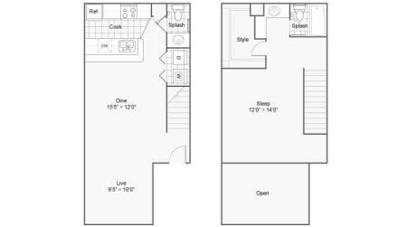 One Bedroom Townhome Loft